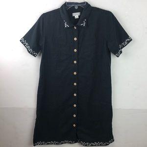 Christopher & Banks Dress Linen Blend Button Up